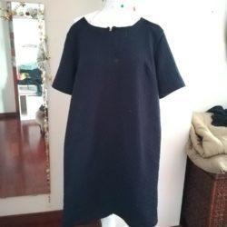 Vestido manga curta de corte direito 1