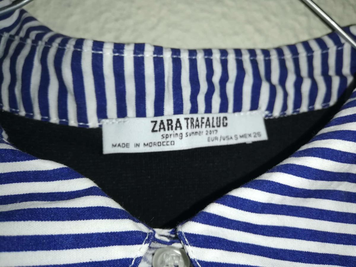 Blusa Feminina Zara riscas azuis escuras 2