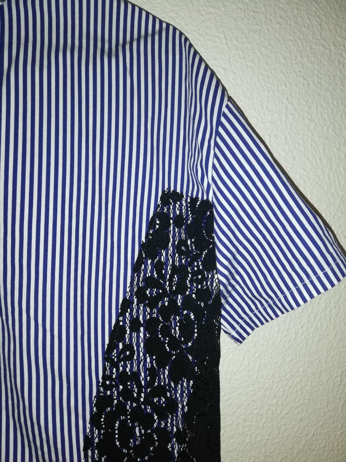 Blusa Feminina Zara riscas azuis escuras 1