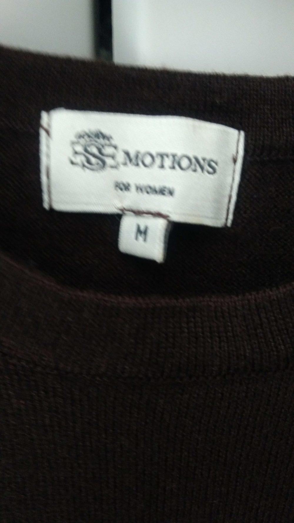 Camisola em malha manga curta  castanho escuro 1