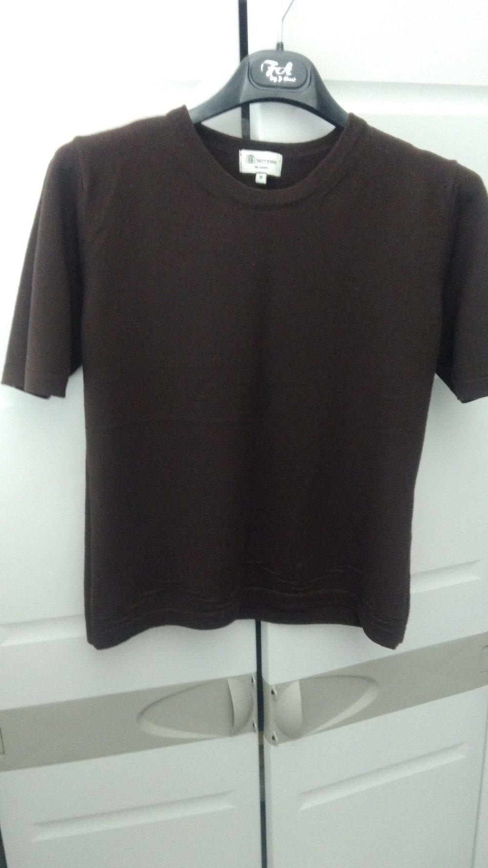 Camisola em malha manga curta  castanho escuro 3